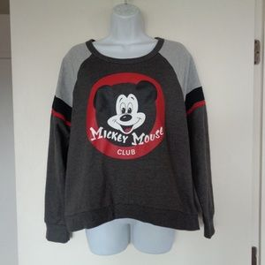 Mickey Mouse Club Gray Red Sweatshirt Large